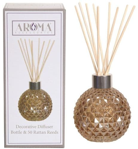 AROMA Glass Reed Diffuser Amber Lustre with 50 Rattan Reeds