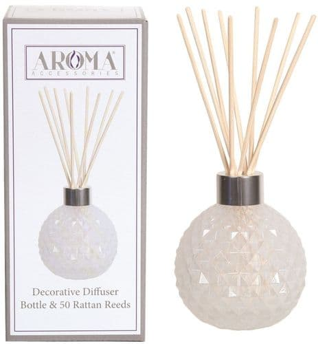 AROMA Glass Reed Diffuser White Lustre with 50 Rattan Reeds