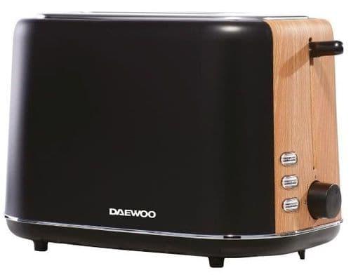 DAEWOO Stockholm 2 Slice Toaster with Wood Effect Black SDA1743