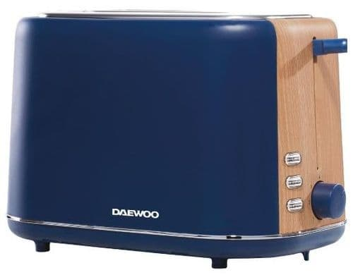 DAEWOO Stockholm 2 Slice Toaster with Wood Effect Navy Blue SDA1740