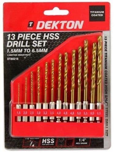 DEKTON 13 piece 1/4'' Shank HSS Drill Bit Set 1.5mm - 6mm DT80216