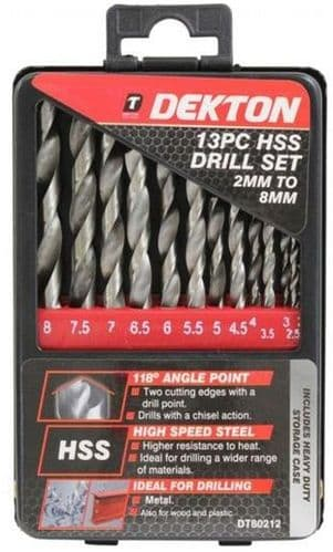 DEKTON 13 piece HSS Drill Bit Set 2mm - 8mm DT80212