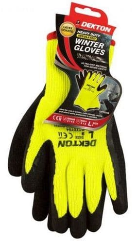 DEKTON Heavy Duty Insulated Winter Gloves Hi-Vis Size L