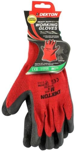 DEKTON Heavy Duty Latex Coated Working Gloves Black/Red Size M