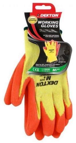 DEKTON Heavy Duty Latex Coated Working Gloves Orange/Cream Size M