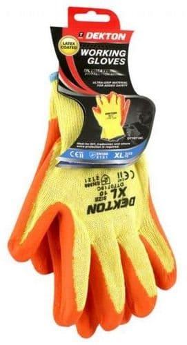 DEKTON Heavy Duty Latex Coated Working Gloves Orange/Cream Size XL