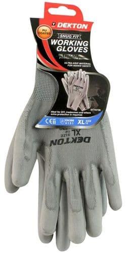 DEKTON Snug Fit PU Coated Working Gloves Grey Size XL