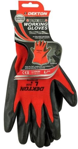 DEKTON Ultra Grip Nitrile Coated Working Gloves Black/Red Size L