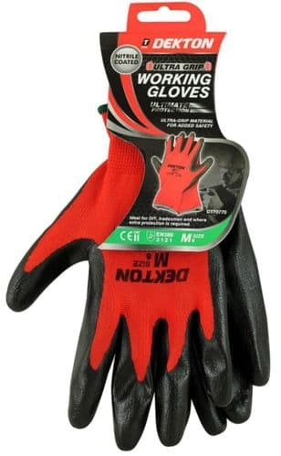DEKTON Ultra Grip Nitrile Coated Working Gloves Black/Red Size M