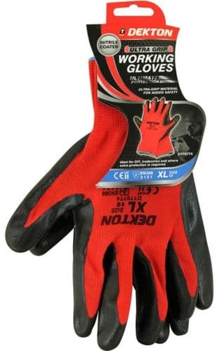 DEKTON Ultra Grip Nitrile Coated Working Gloves Black/Red Size XL