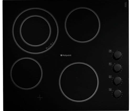 HOTPOINT 60cm Electric Ceramic Hob with Control Knobs HR619CH