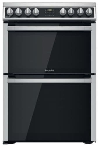 HOTPOINT 60cm Electric Cooker with Ceramic Hob, Steam and 2 Full Fan Ovens Inox HDM67V8D2CX