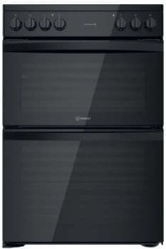 INDESIT 60cm Electric Double Oven Cooker with Ceramic Hob Black ID67V9KMB/UK