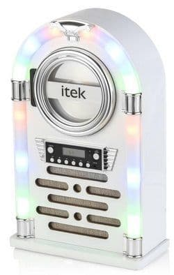 ITEK Bluetooth Jukebox with CD Player and FM Radio White I60018CDGW