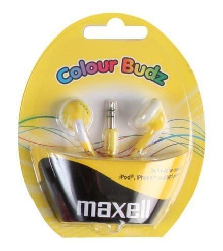 MAXELL Colour Budz Earphones, Yellow