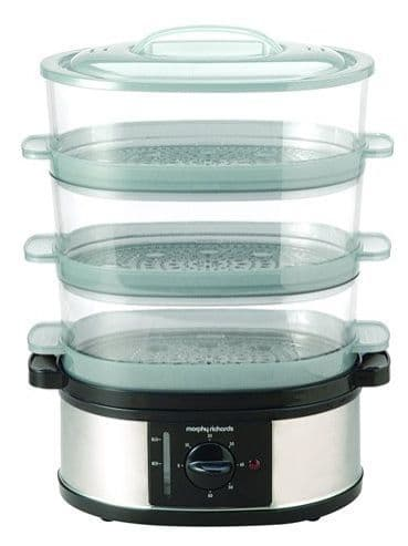 MORPHY RICHARDS Large 3 Tier Food Steamer St. Steel 48755