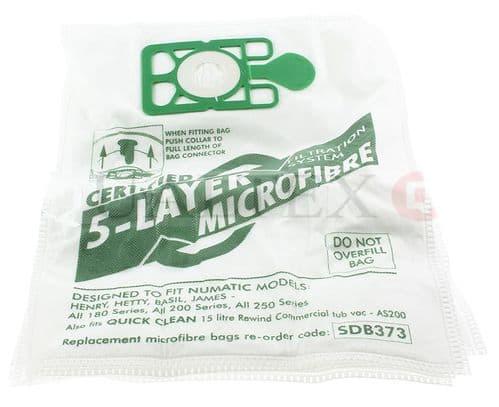 NUMATIC Henry / Hetty / James / Harry / Basil / John / Lewis Synthetic Bags 5pk COPY NVM-1CH
