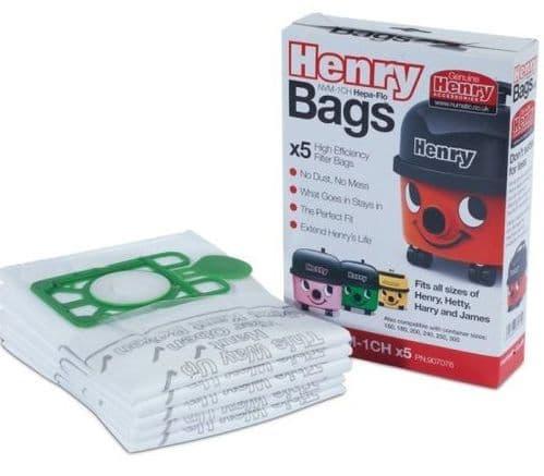 NUMATIC Henry / Hetty / James / Harry / Basil / John / Lewis Synthetic Bags 5pk GENUINE NVM-1CH