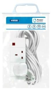 STATUS 2 Way 5m Extension Socket White with Neon Indicator