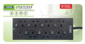 STATUS 8 Way 2m Individually Switched Surge Protected Extension Socket
