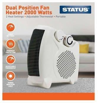 STATUS Dual Position Fan Heater 2000w