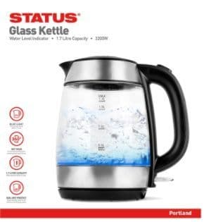 STATUS Portland 1.7 litre Jug Glass Kettle with 2 Year Guarantee