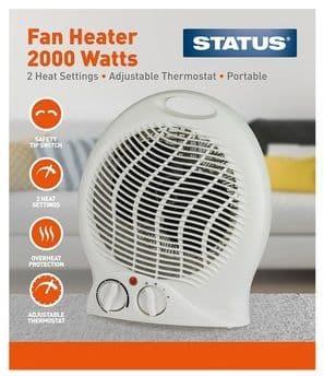 STATUS Upright Fan Heater White 2000w