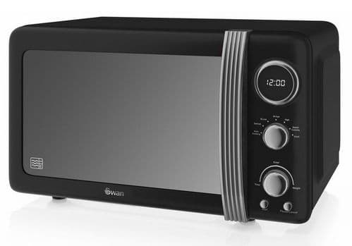 SWAN 800w Retro Digital Microwave Black SM22030BN