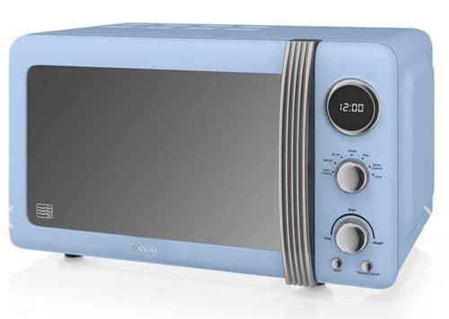 SWAN 800w Retro Digital Microwave Blue SM22030BLN