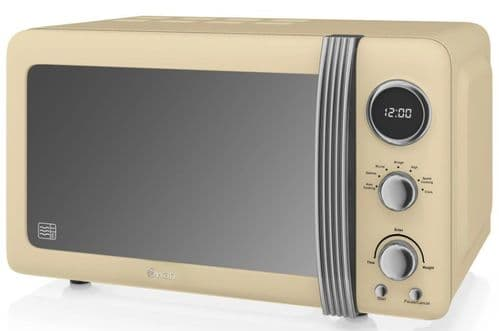 SWAN 800w Retro Digital Microwave Cream SM22030CN