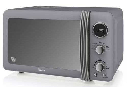 SWAN 800w Retro Digital Microwave Grey SM22030GRN
