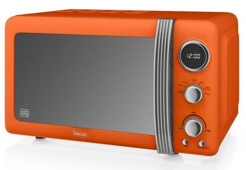 SWAN 800w Retro Digital Microwave Orange SM22030ON