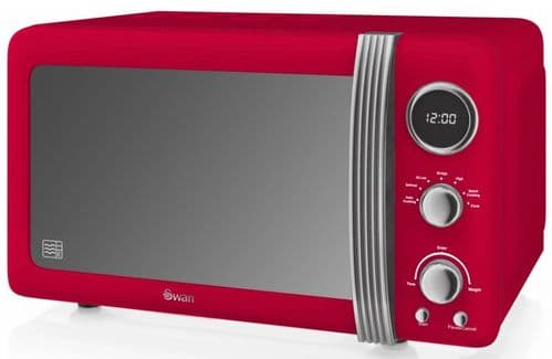 SWAN 800w Retro Digital Microwave Red SM22030RN
