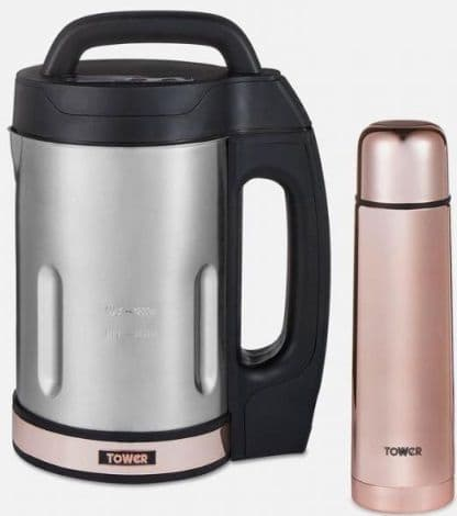 TOWER 1.6L Soup Maker with St. Steel Blade including 500ml Flask Rose Gold T12055RG