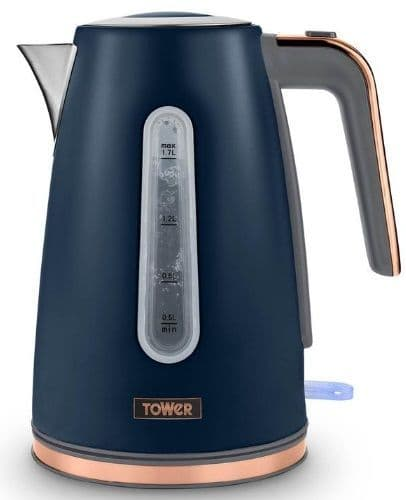 TOWER Cavaletto 1.7l Jug Kettle Blue and Rose Gold T10066BLU