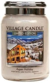 VILLAGE CANDLE Large 26oz Jar with Metal Lid Aspen Holiday