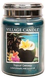 VILLAGE CANDLE Large 26oz Jar with Metal Lid Tropical Getaway
