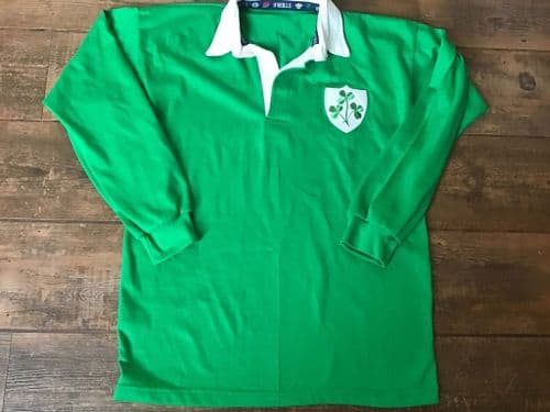 1980 1987 Ireland Rugby Union L/s Home Shirt Large