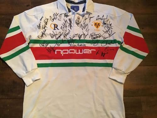 2002 2003 Worcester Warriors Squad Signed Rugby Union Shirt COA