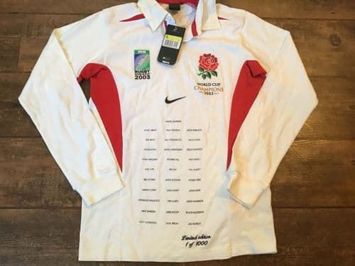 2003 England BNWT World Cup Champions Squad Names Rugby Union Shirt Small