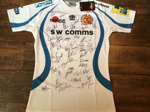 2012 2013 Exeter Chiefs Squad Signed BNWT New Rugby Shirt Large