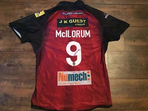 2013 Wigan Warriors  Player Issue No 9 Signed Mcilorum Superman Rugby League Shirt Adults XL