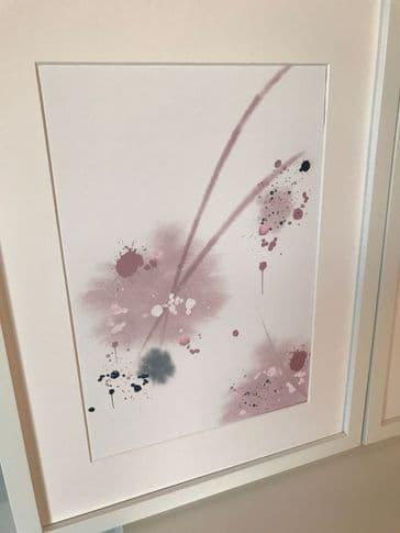 Abstract dusky pink burst (A4)