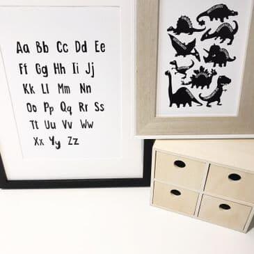 Alphabet and Dino set (2 prints)