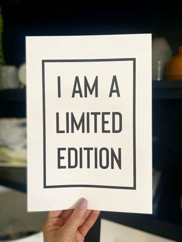 I am a limited edition (A4) TEXTURED CARD