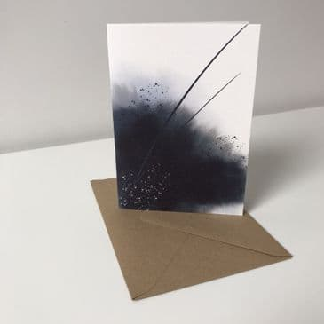 Inky blue abstract design - A6 greeting card