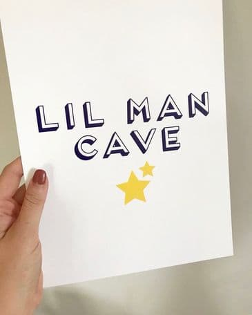 Lil man cave (A4 navy & yellow)