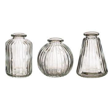 Plain Glass Bud Vases (set of 3)