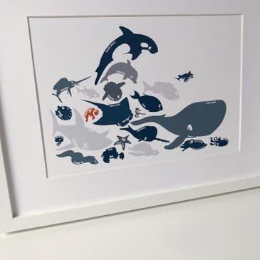 Sea creatures - blue (A3 & A4 landscape)