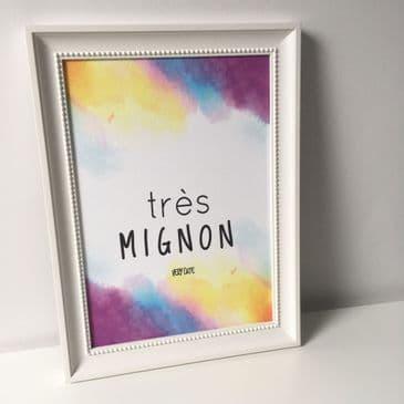 Tres mignon - very cute (A4 textured finish card)